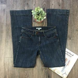 CAbi Flare Wide Legged Dark Wash Blue Jeans